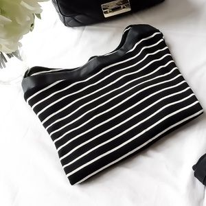 Chaps Black &White Striped Leather Boatneck Top! L